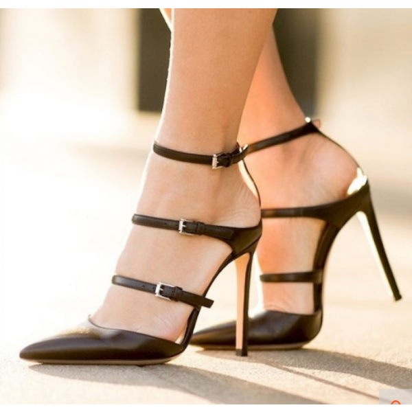 Black Three Strap Stiletto Heels Sexy Closed Toe Pumps Shoes image 1