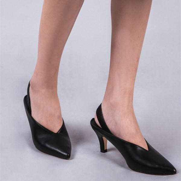 Black Pointy Toe Slingback Heels Cone Heel Pumps Office Shoes image 2