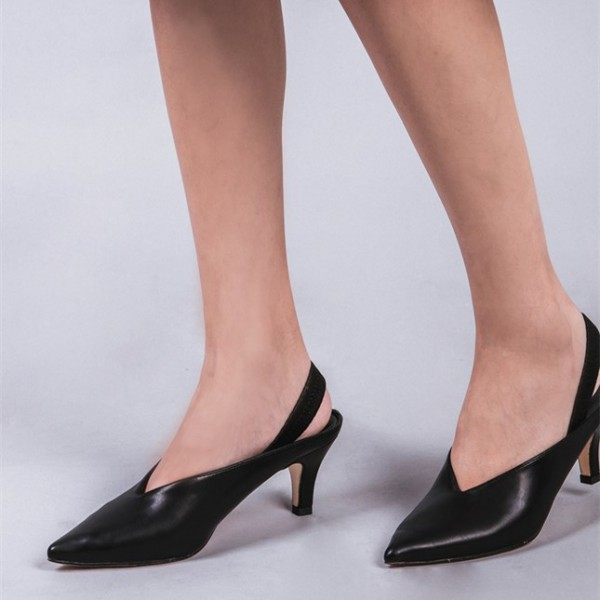 Black Pointy Toe Slingback Heels Cone Heel Pumps Office Shoes image 1
