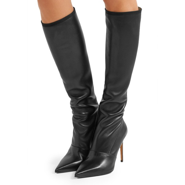 c569d83a293 Black Pointy Toe Stiletto Boots Knee High Boots