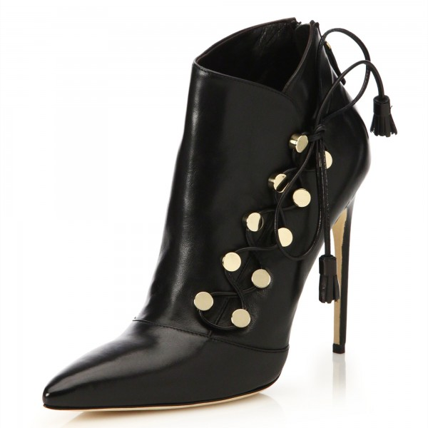 Black Pointy Toe Stiletto Heels Ankle Booties with Studs image 1
