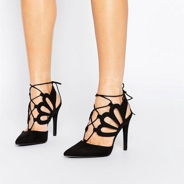 5336a2a7974b Black Suede Lace up Heels Laser Cut Pointy Toe Stiletto Heels Pumps image 1  ...