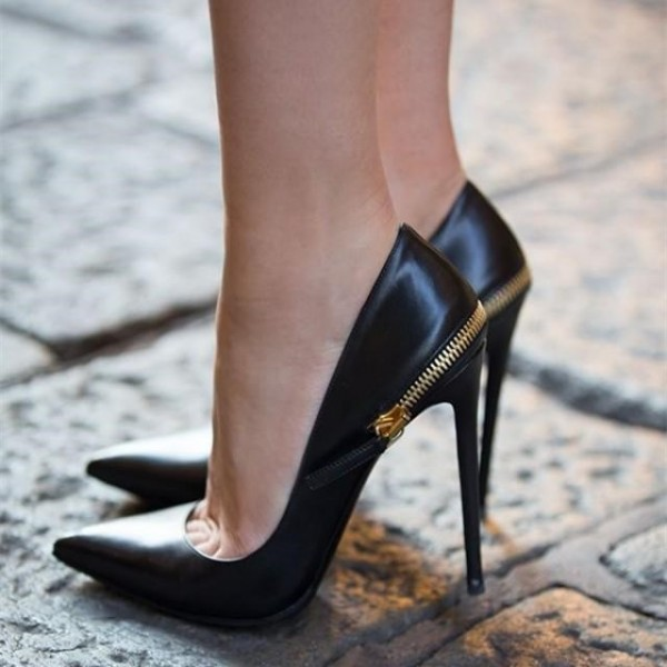 Black Pointy Toe Stiletto Heels Pumps Back Zipper Fashion Office Shoes image 1