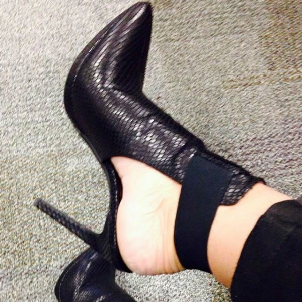 Black Pointy Toe Stiletto Heels Slingback Ankle Booties image 1