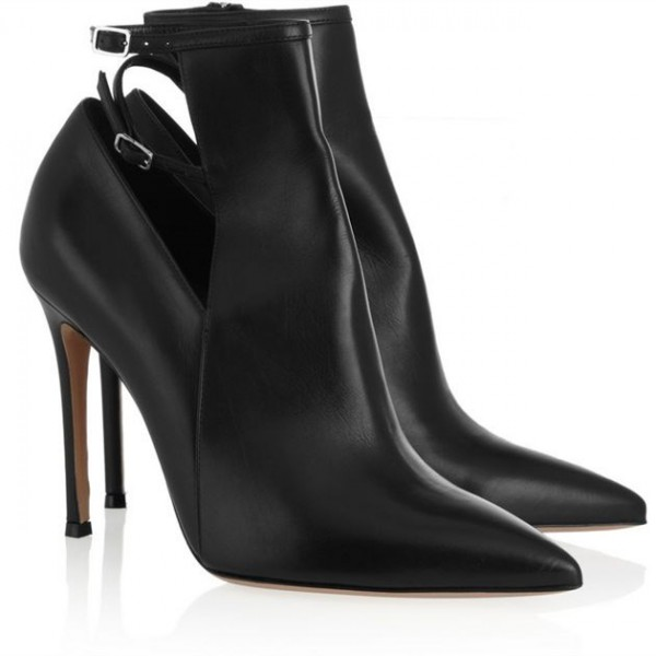 Black Fall Boots Pointy Toe Double Ankle Strap Stiletto Heel Booties image 3