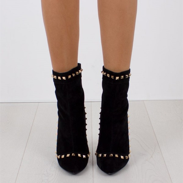 Black Rivets Fashion Boots Pointy Toe Stiletto Heels Suede Ankle Boots image 3