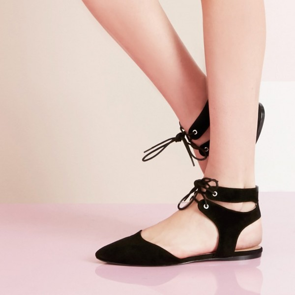 Black Pointy Toe Suede Lace Up Strappy Slingback Comfortable Shoes image 1