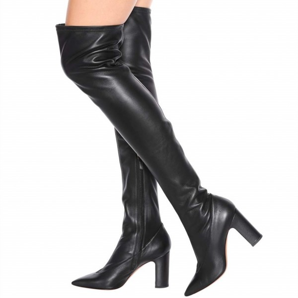 9f5d41b3dcac9 Black Pointy Toe Thigh High Heel Boots Chunky Heel Long Boots image 1 ...