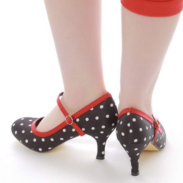 Black Polka Dot Round Toe Mary Jane Pumps image 3