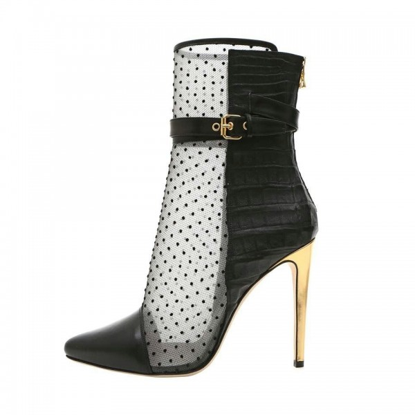 Black Polka Dots Mesh Stiletto Boots Buckles Ankle Boots image 1