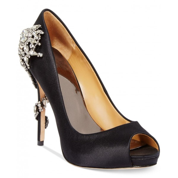 Black Prom Shoes Satin Stiletto Heels Rhinestone Evening Shoes image 3