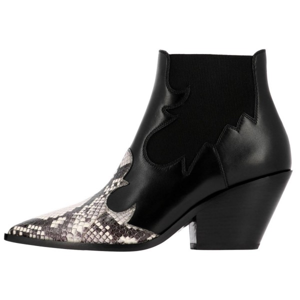 Black Snakeskin Slip on Boots Pointy Toe Chunky Heel Ankle Boots image 3
