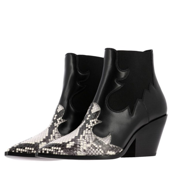 Black Snakeskin Slip on Boots Pointy Toe Chunky Heel Ankle Boots image 1