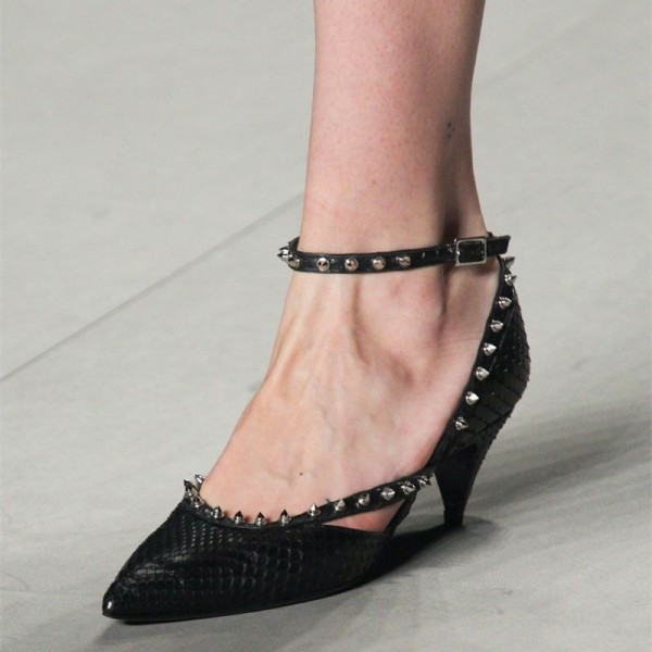 Black Python Pointy Toe Cone Heel Rivets Ankle Strap Heels for Women image 1