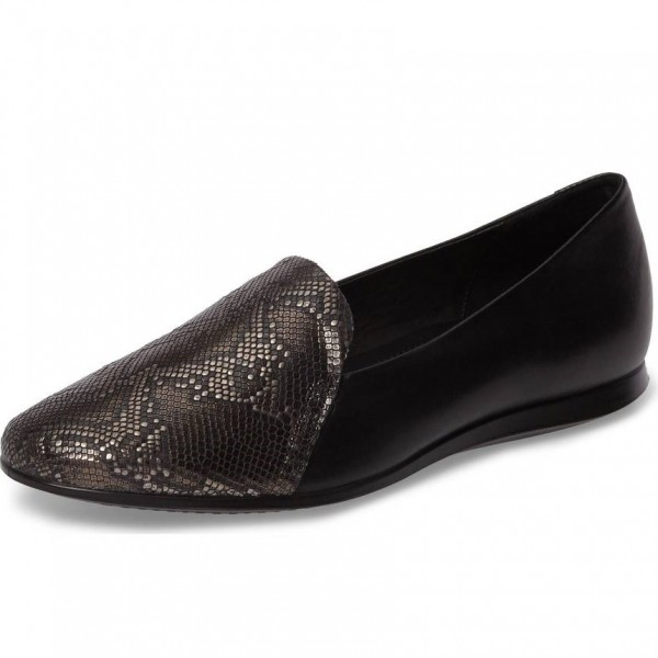Black Python Round Toe Loafers for Women image 1