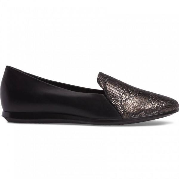 Black Python Round Toe Loafers for Women image 2