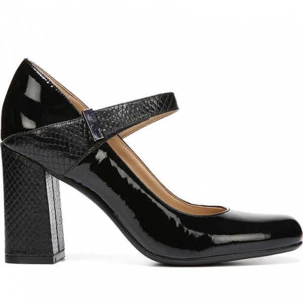 Black Python Strap Mary Jane Pumps Patent Leather Chunky Heels Shoes image 2