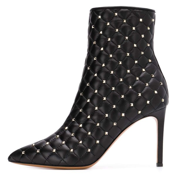 Black Quilted Ankle Booties Studs Shoes Pointy Toe Stiletto Boots image 4