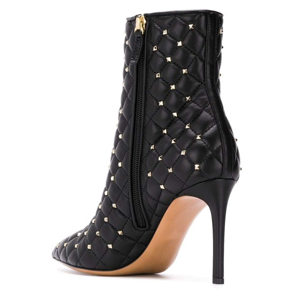 Black Quilted Ankle Booties Studs Shoes Pointy Toe Stiletto Boots image 3