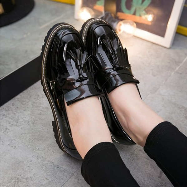 Black Patent Leather Square Toe Fringe and Tassel Loafers for Women image 3