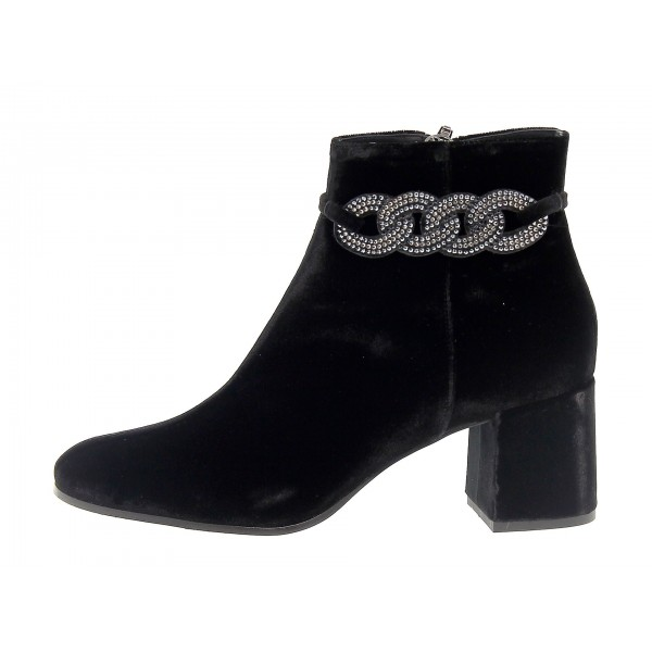 Black Rhinestone Block Heel Ankle Booties image 3