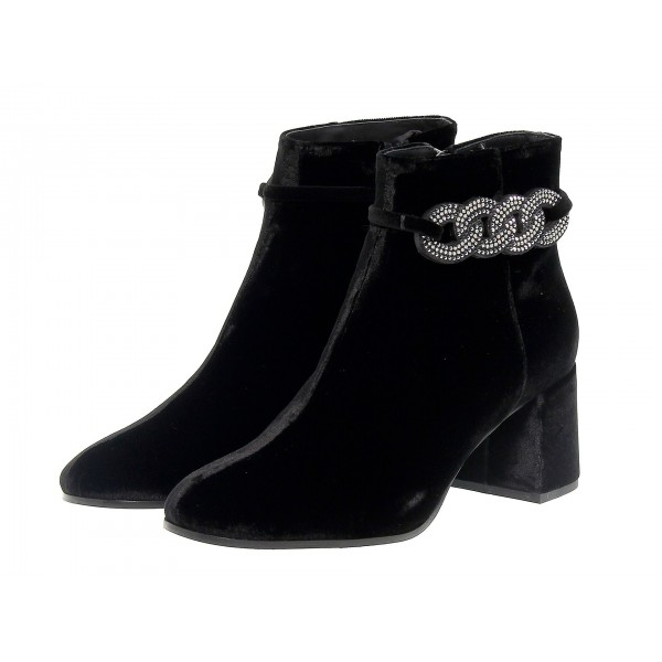 Black Rhinestone Block Heel Ankle Booties image 1