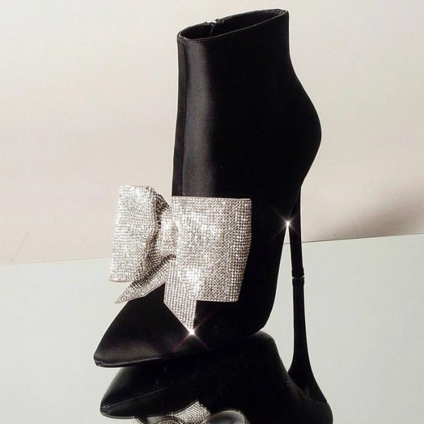 Black Rhinestone Bow Stiletto Boots Pointy Toe Satin Ankle Booties image 1