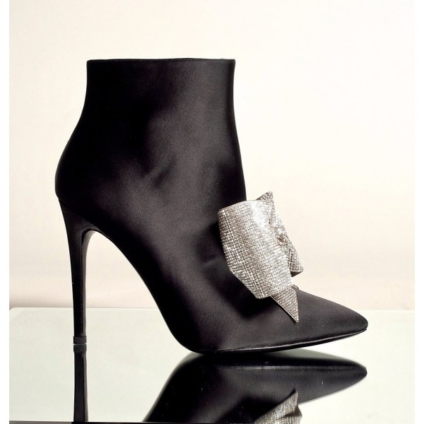 Black Rhinestone Bow Stiletto Boots Pointy Toe Satin Ankle Booties image 2