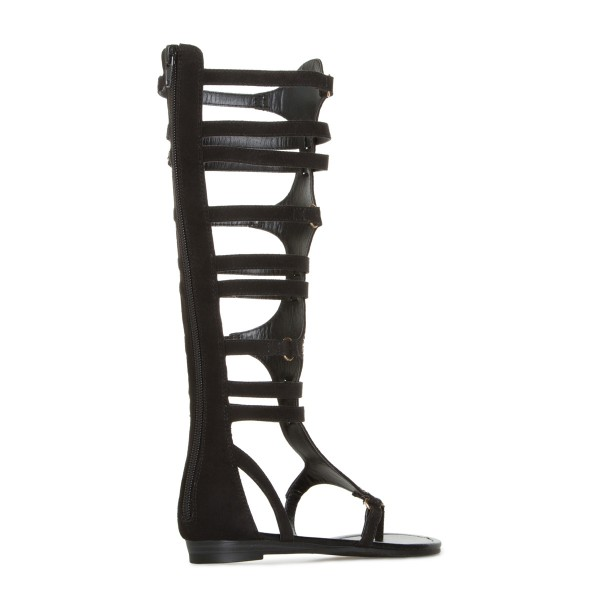 Lelia Black Knee High Gladiator Sandals Rhinestone Strappy Sandals image 6