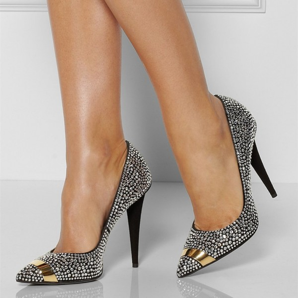 Black Rhinestone Heels Pointy Toe Pumps Evening Shoes for Prom image 1