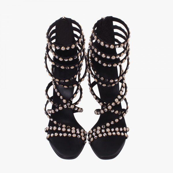 Black Rhinestone Heels Sandals Stiletto Heels Strappy Sandals image 2