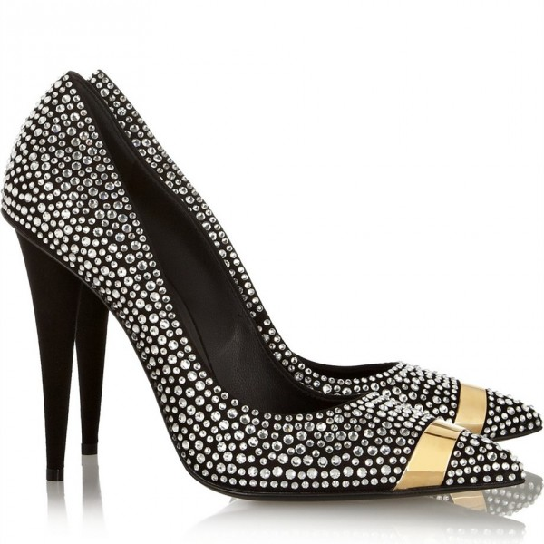 Black Rhinestone Heels Pointy Toe Pumps Evening Shoes for Prom image 2