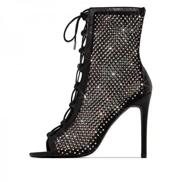 Black Rhinestone Lace Up Boots Peep Toe Stiletto Heel Ankle Boots image 4