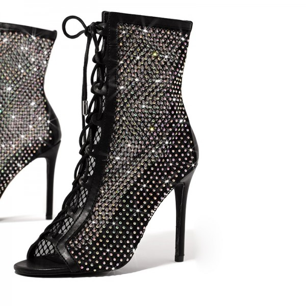 Black Rhinestone Lace Up Boots Peep Toe Stiletto Heel Ankle Boots image 5