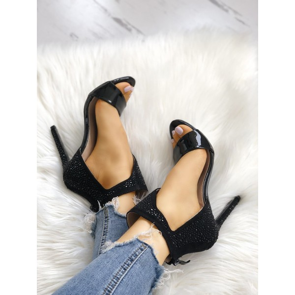 Black Rhinestone Open Toe Sandals Stiletto Heels Sexy Shoes image 2
