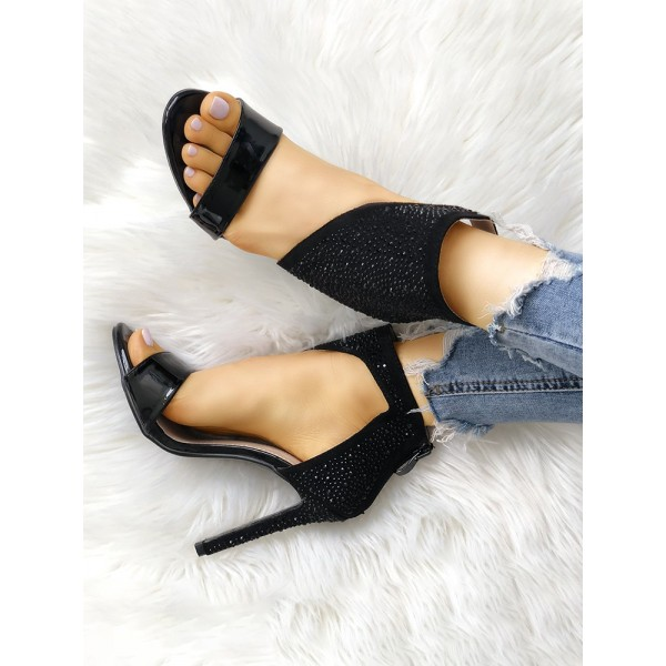 Black Rhinestone Open Toe Sandals Stiletto Heels Sexy Shoes image 3