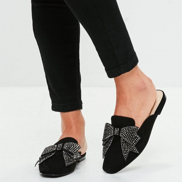 Black Suede Loafer Mules Square Toe Rhinestone Bow Loafers for Women image 1
