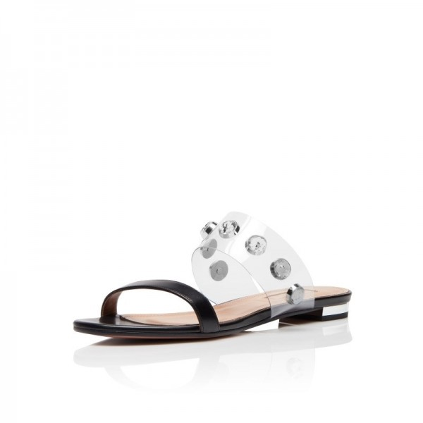 c51bc20bf Black and Clear Rhinestone Flat Sandals Open Toe Women s Slide Sandals  image ...