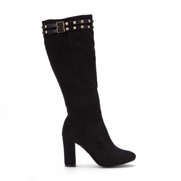 Black Rivets Chunky Heel Boots Round Toe Mid-calf Boots image 2