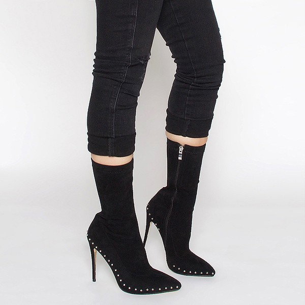 Black Rivets Fashion Boots Pointy Toe Stiletto Heels Suede Ankle Boots image 2