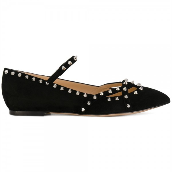 Black Rivets Mary Jane Shoes Pointy Toe Flats School Shoes image 3