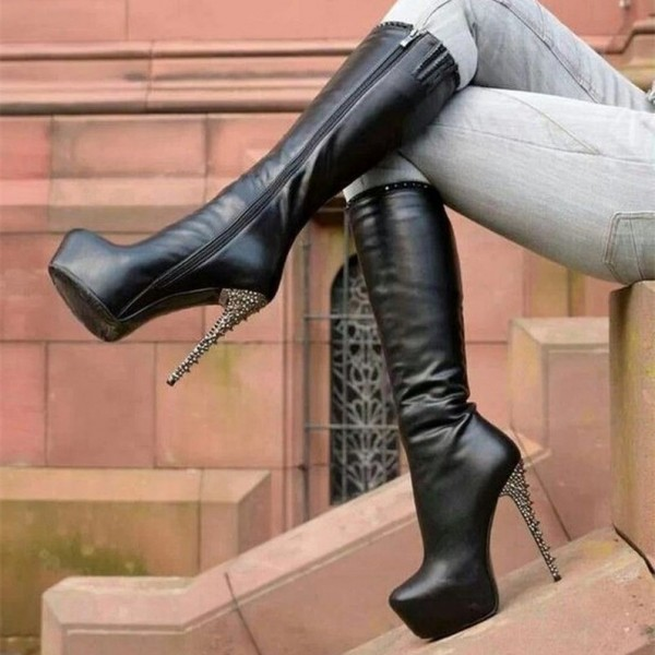 Black Rivets Stiletto Boots Platform Mid-calf Boots for Women image 1