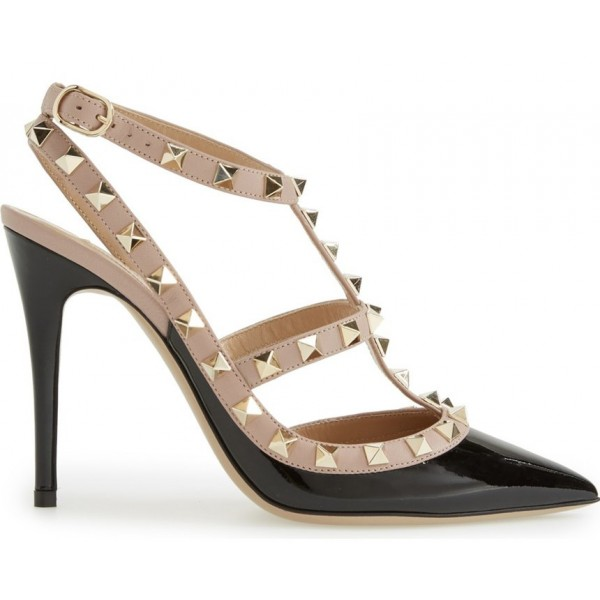 Women's Black T-Strap Pumps Stiletto Heels with Rivets Slingback Shoes image 2