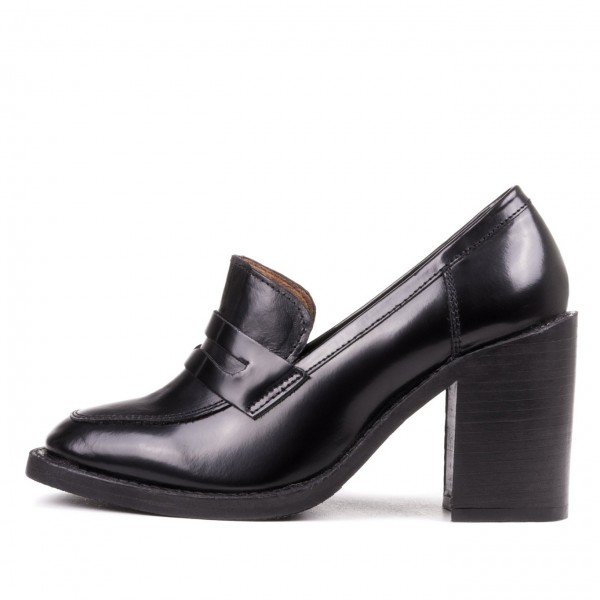 Black Round Toe Block Heel Loafers for