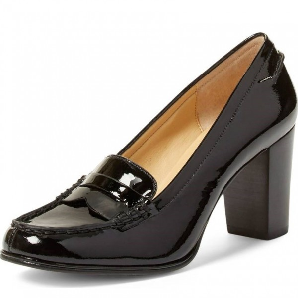 Black Round Toe Block Heel Patent Leather Loafers for Women image 1