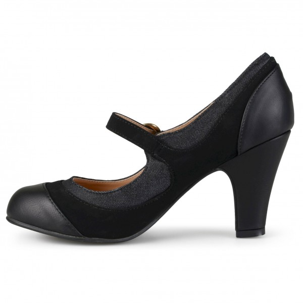 Black Round Toe Chunky Heels Mary Jane Pumps School Shoes image 2