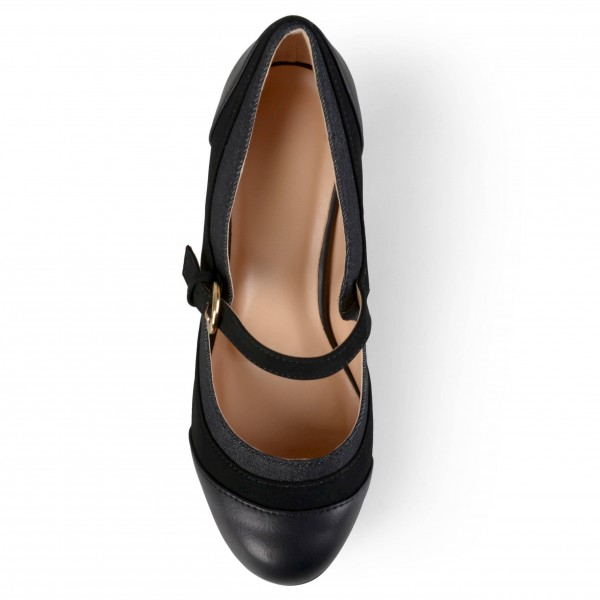 Black Round Toe Chunky Heels Mary Jane Pumps School Shoes image 3
