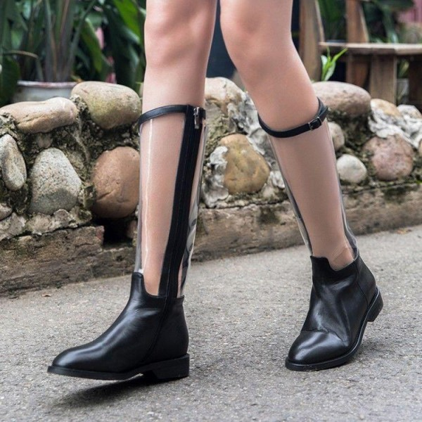 top-rated quality new style of 2019 provide large selection of Black Round Toe Comfortable Flats Fashion Mid-calf Boots Clear Shoes
