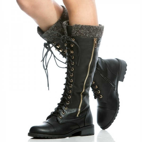 Black Round Toe Motorcycle Boots Lace up Fashion Boots US Size 3-15 image 1