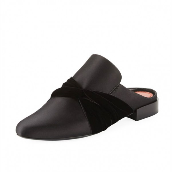 Black Round Toe Loafers for Women Mules image 1